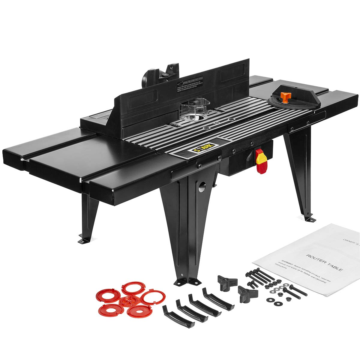 XtremepowerUS Deluxe Bench Top Aluminum Electric Router Table Wood Working On/Off Swtich Craft DIY Benchtop (34'' x 13'') -Black by XtremepowerUS