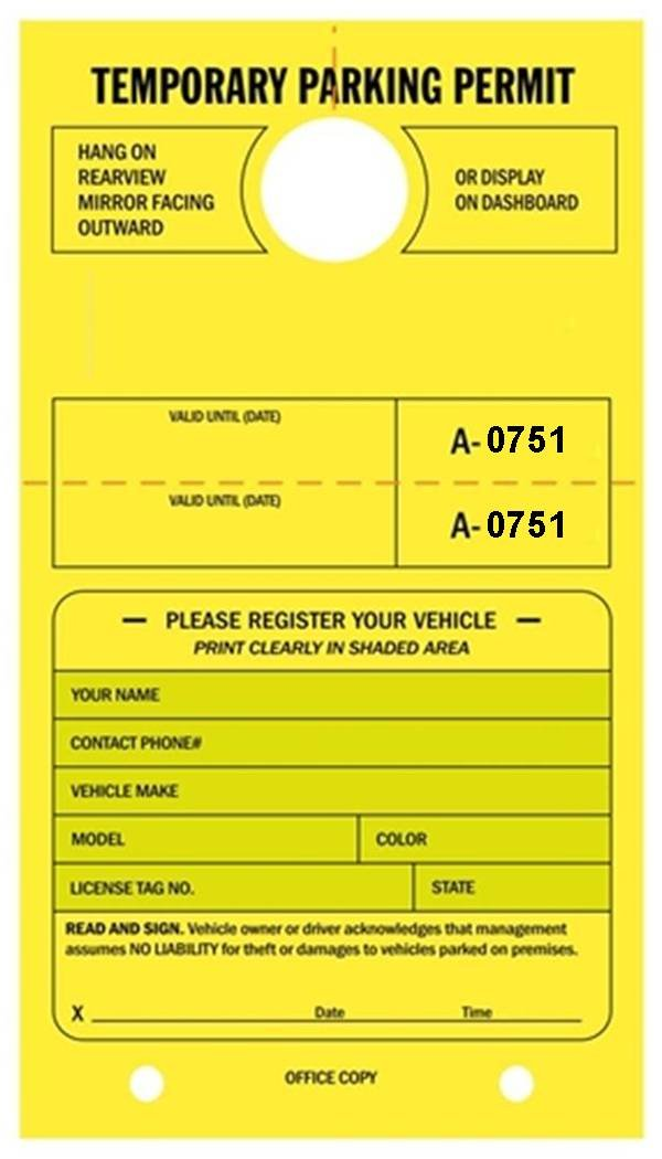 Temporary Parking Permit - Mirror Hang Tags, Numbered with Tear-Off Stub, 7-3/4'' x 4-1/4'', Bright Fluorescent Yellow - Pack of 50 Tags (0751-0800)