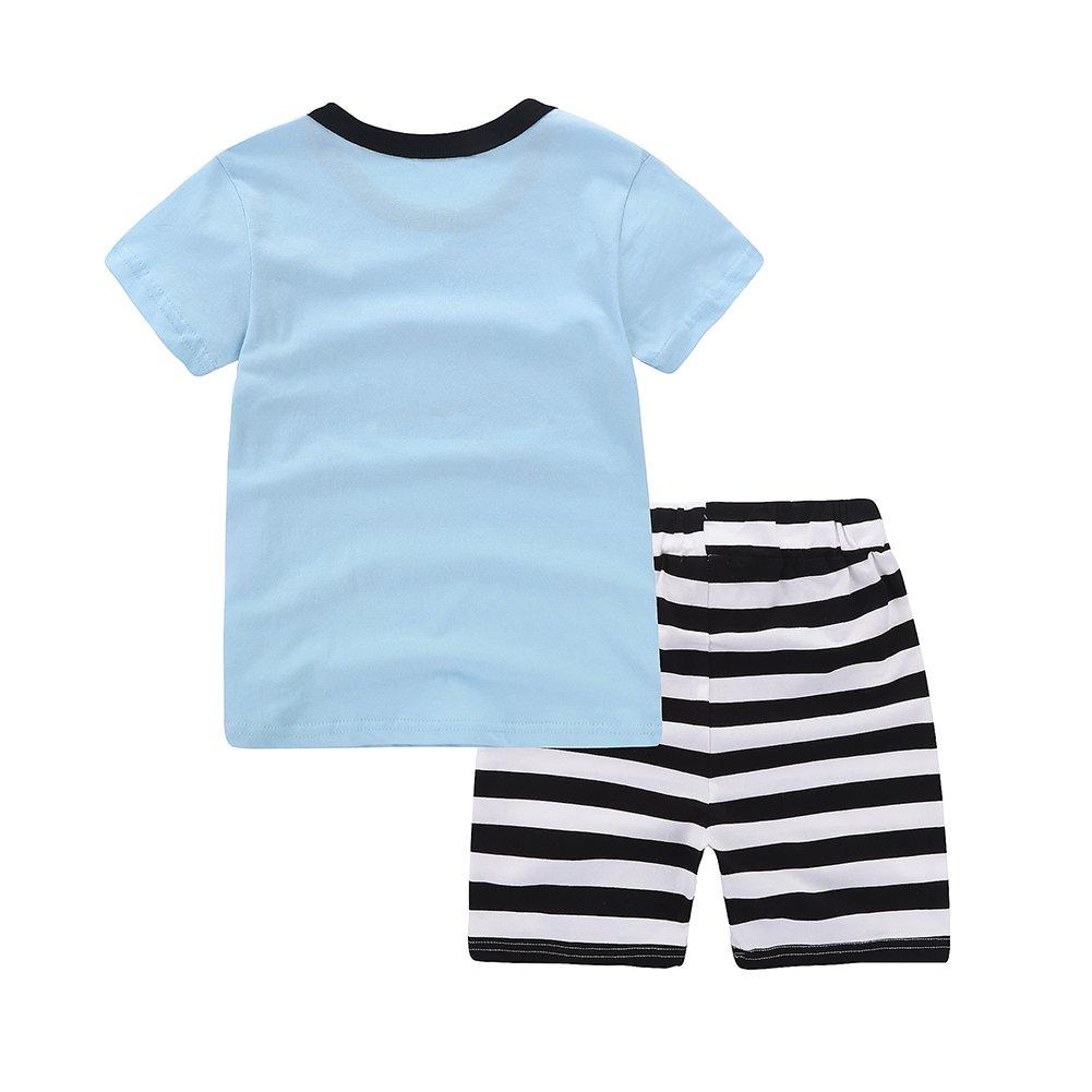 Motecity Fashion Little Boys' Summer Casual Cartoon Printed Set T-Shirt Shorts Blue Plane 2T by Motecity (Image #2)