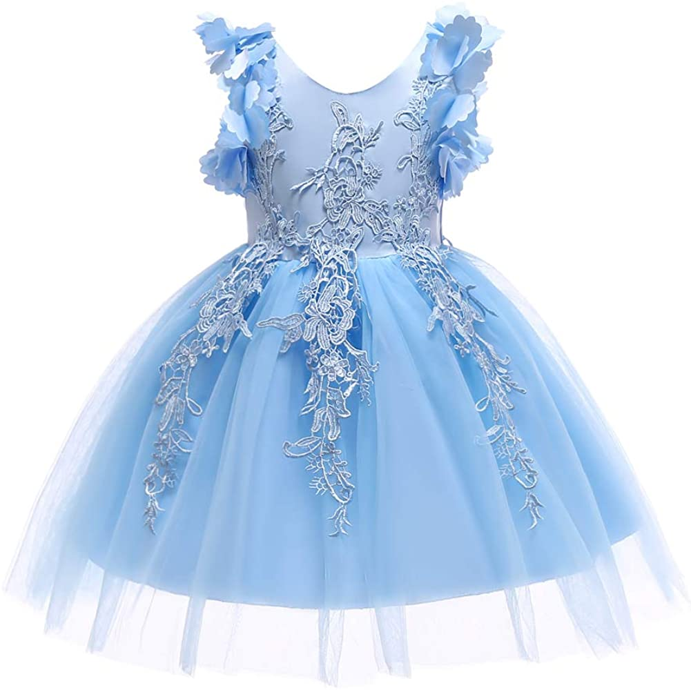 Weileenice 2-12 Years Kids Girls Princess Lace Dress Flower Girl Pageant Party Dresses