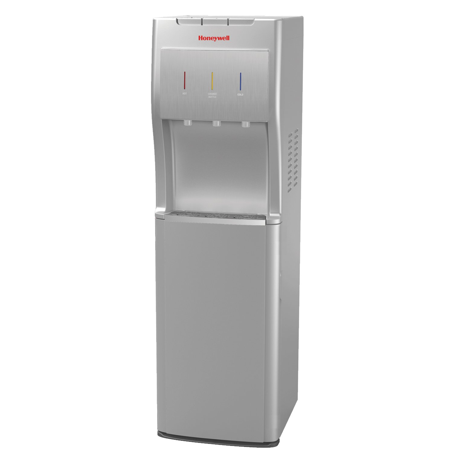 Honeywell HWBL1013S2 40-Inch Freestanding Bottom Loading Water Cooler Dispenser with Hot, Room and Cold Temperatures with Superior Water Pump, Silver