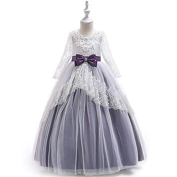 48b8594716d Filles Robe Mariage Princesse Enfant Robe Soiree Jupe Longue Fleur Dentelle  Robe