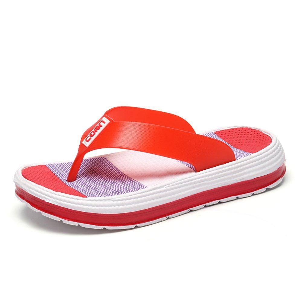 Damen Zehentrenner Sandalen Sommer Strand Flip Flops mit Plateau Sohle Gr.36-41  36 EU|Rot