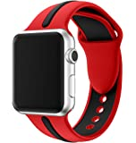 LoveBlue for Apple Watch Band Series 1/Series 2/Series3 Soft Sports Silicone Bracelet Strap Wristband Replacement Watchband with Adjustable Buckle and Quick Release for Apple iWatch (Red&Black-42mm)