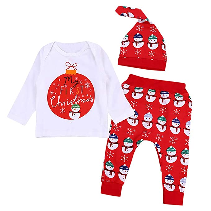 BBsmile Ropa de bebé Infantil Navidad Manga Larga Carta de impresión Tops Pants Hat Outfit Otoño