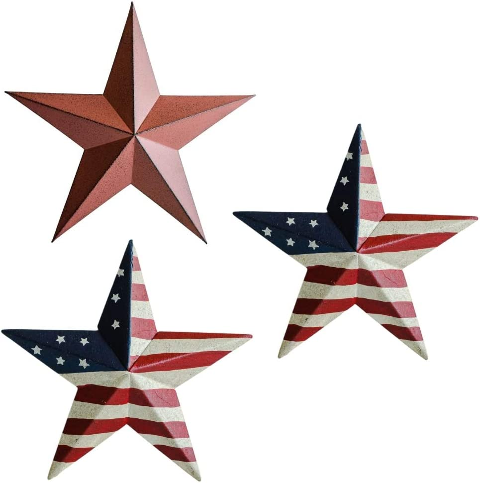 Metal Barn Stars - Patriotic Decorations - American Flag Décor - Set of 3 12 inch Outside or Inside Hanging Stars – For Election Celebrations