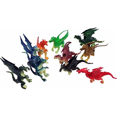 "2.5"" - 3"" Plastic Fire Breathing Mini Dragons - 10 Pieces: Toys & Games"