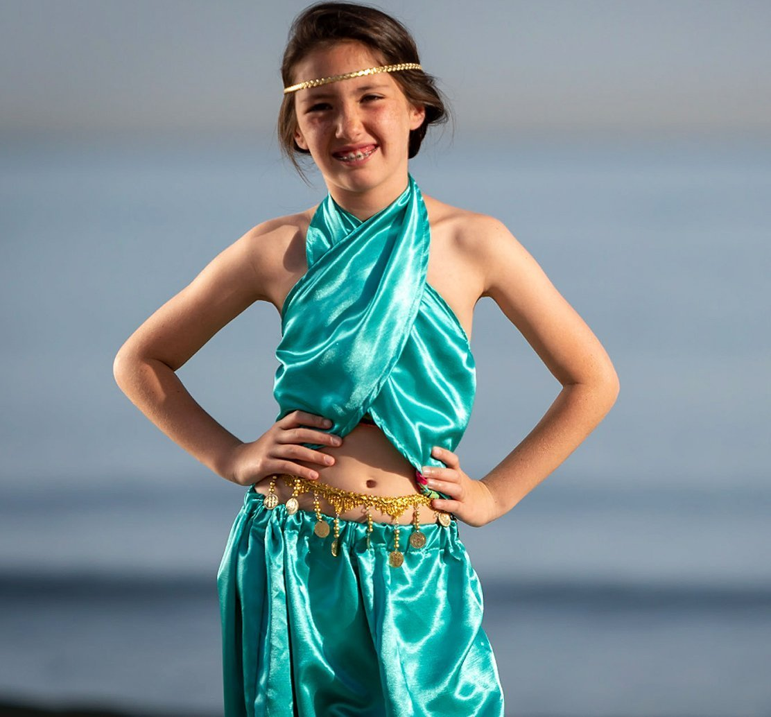 Jasmine Costume, Arabian Princess, shimmer and shine party, Genie Outfit, Halloween Princess, Turquoise outfit, Harem Pants, Halter Top