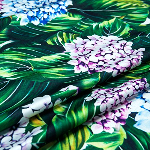Generic Couture Fashion Heavy Chiffon Faux Silk Satin Fabric For Dress Full Pattern Hydrangea Floral Green Leaves 59