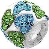 Bling &Bleu Vert Coeur-Argent 925/1000–Perle Charm de Style Pandora.