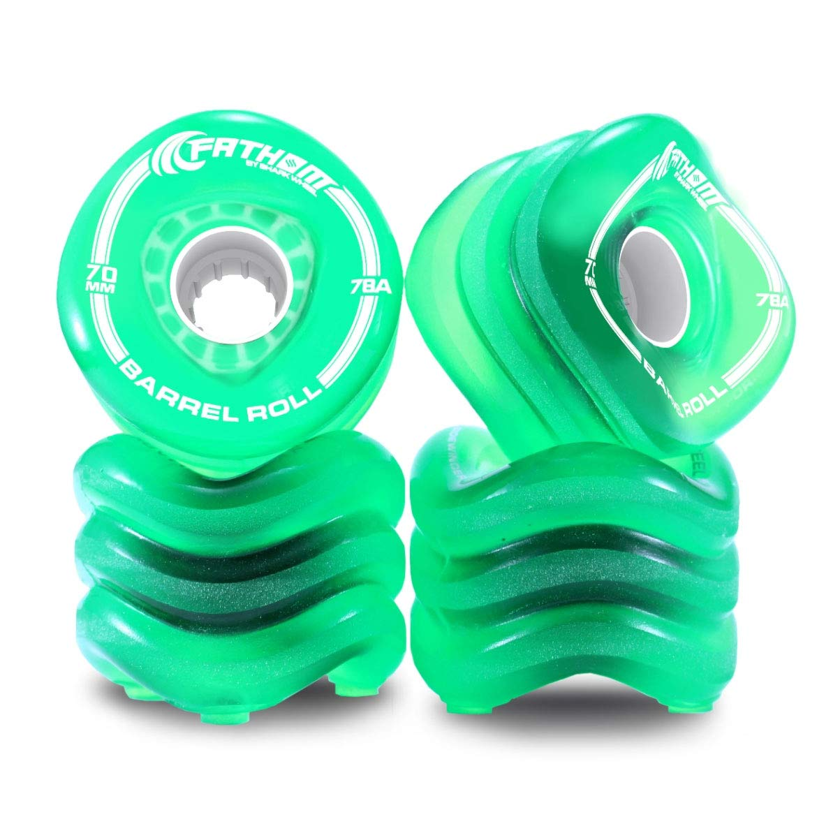 Shark Wheel Barrel Roll 70MM Long Board Wheels, Transparent Green by Shark Wheel