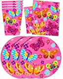 Whimsical Pink Butterfly Birthday Party Supplies Set Plates Napkins Cups Tableware Kit for 16