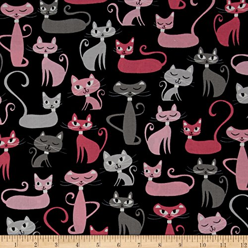 Robert Kaufman Kaufman Whiskers & Tails Cats Allover Black Fabric by The Yard, Black