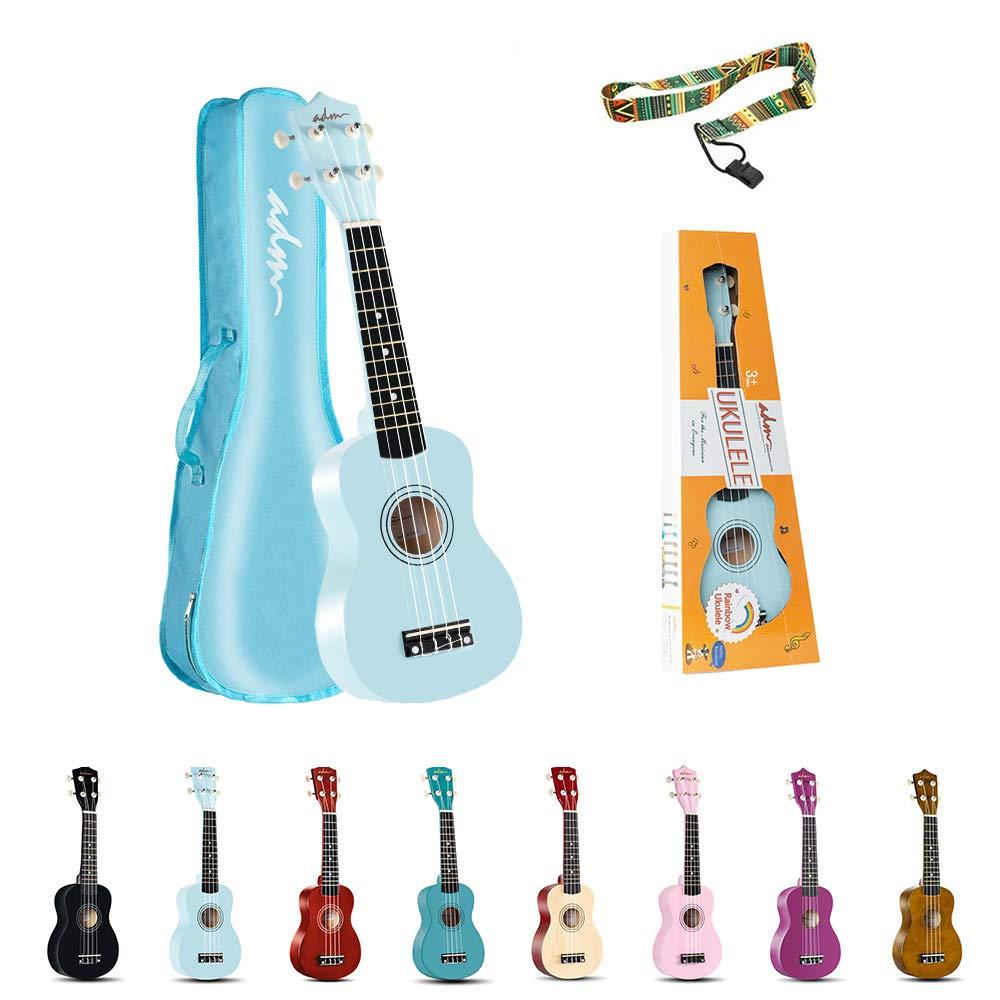 ADM Soprano Ukulele for Kids Beginners 21 Inch with Uke Starter Pack Kit, Gig Bag and Strap, Blue