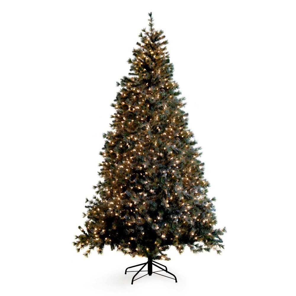 Artificial Christmas Tree. Fake Xmas Spruce With Densely, Lush Branches. It's Classic Fir Shape, Noble Green Foliage & Clear Lights Looks Neat & Festive. Great For Indoor Holiday Season Party Decor.