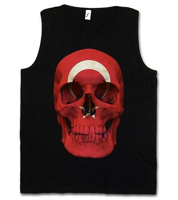 70432d88d2c80 Turkey Turkish Skull Flag Men Tank Top Training Gym Vest Shirt - Totenkopf  Türkei Türkiye Islam Muslim Shirt Sizes S - 5XL  Amazon.co.uk  Clothing