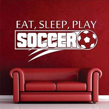 pegatinas de pared baratas Balón de fútbol Fútbol Comer dormir ...