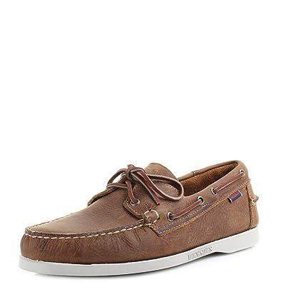 ed1edc843c4a88 Sebago Hommes Dockside Cuir Marron Chaussures Bateau Taille 6-11.5 ...