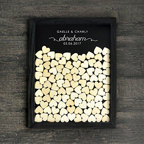 Tamengi Personalized Drop Top Wooden Wedding Guest Book,Wedding Guestbook , Memory Guest Book,Customized Guest Book Alternative 150Pcs Wooden Hearts Decor