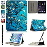 iPad mini Case,iPad mini 3/2 Case,UUcovers Folio Stand Case with Smart Cover Auto Sleep/Wake Feature Transparent Back for Apple iPad mini 1/2/3 (Blue Tree)