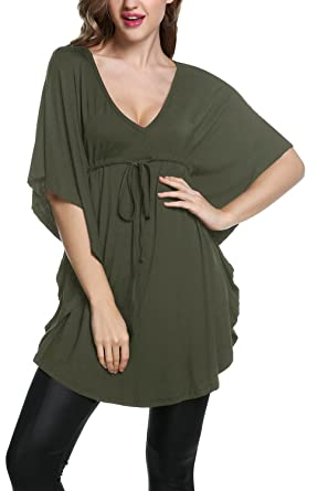 a855d745c479a Meaneor Women s Plus Size V Neck Empire Waist Batwing Sleeve Tunic Top  Shirt Army Green S