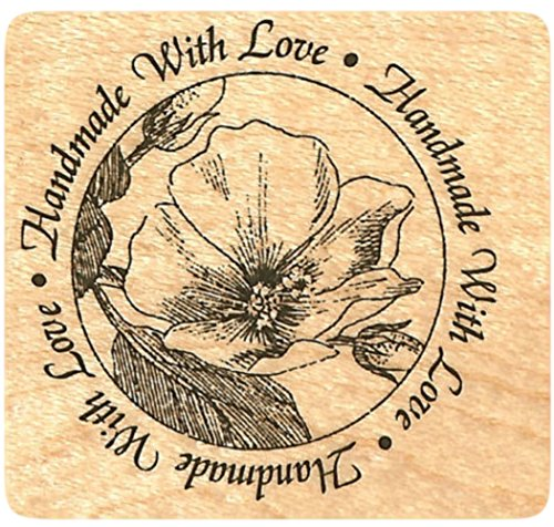 {Single Count} Unique & Custom (1 1/2 Inches) Handmade With Love Text & Red Poppy Flower Scene Round Circle Shaped Genuine Wood Mounted Rubber Inking Stamp