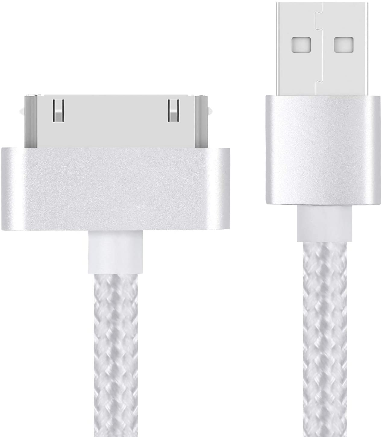 EVERMARKET 3 Feet Replacement High Speed USB 2.0 Nylon Braided Sync and Charging Charger Cable Cord for Apple iPhone 4, 4s, 3G, 3GS, 2G, iPad 1/2/3 iPod Touch, iPod Nano - Silver