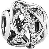 Charms Et Perles Pour Femme Charmes Beads Fille Argent 925/1000 Cristal Blanc Clair Comme De L'Eau Roche Serpentine Ouverte