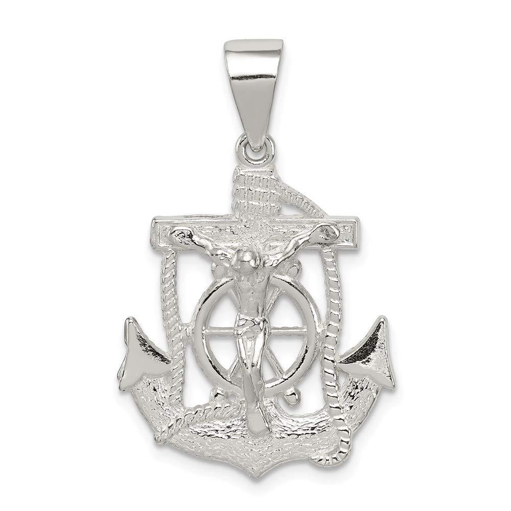 Sterling Silver Polished Mini Mariner INRI Crucifix Pendant