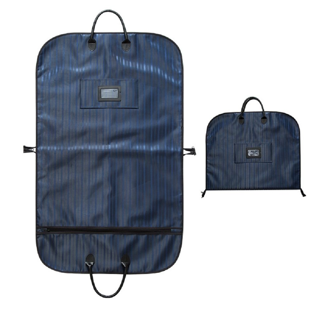 ABTP Portable Garment Travel Suits Bag with Zipper& Handles for Folding for Suits Clothes Cover (Black/Blue) (Blue)