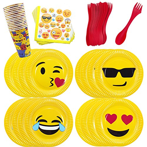 Price comparison product image Emoji Theme Birthday Party Tableware Pack Set for 16 Emoji Plates Cups Napkins Utensils