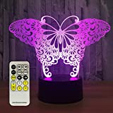 eTongtop Night Light Butterfly 3d night lights 7 Colors Changing with Remote Night Lights for Kids Room Décor or Perfect Birthday Gift for Kids By