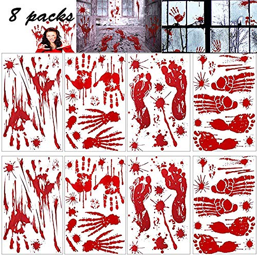 Funny Homemade Halloween Decorations (FITARTS Halloween Decorations Window Bloody Clings Stickers Zombie Haut Vampire Party Decals Bloodstain Supplies for Wall Door Floor Bathtub/Bathroom Haunted House Indoor Hand Prints)