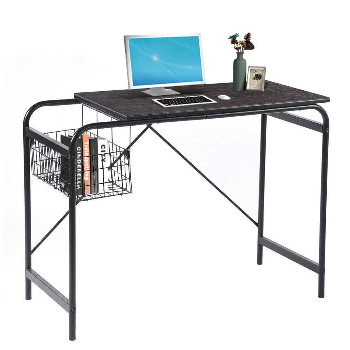 Computer Writing Desk with Metal Storage Basket Industrial Modern Simple Laptop Desk Wooden Study Workstation Space Saving Table Ideal for Home Office Dormitory Small Room or Corner, Walnut by Coavas