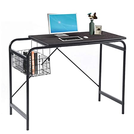 Computer Desk Study Desk With Metal Basket Storage Industrial Black