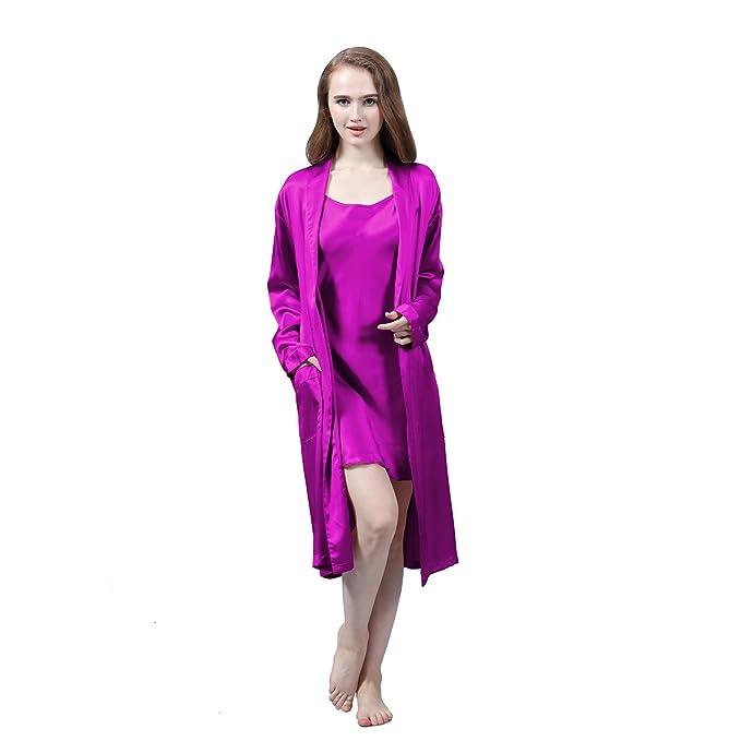 LULUSILK Conjunto de Pijama Mujer Bata Larga con Camisón de Seda 19 Momme Atractivo, Violeta, Talla XL: Amazon.es: Ropa y accesorios