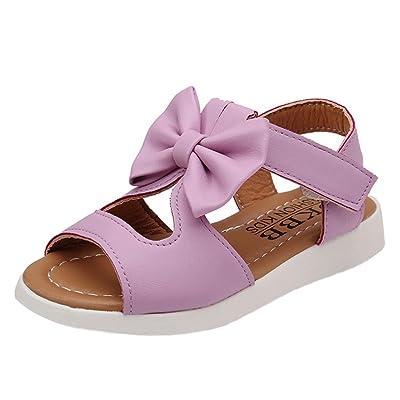 Été Enfants Enfants Sandales,Covermason Sandales Fille Ete Chaussures Souples en Cuir Artificiel Bowknot