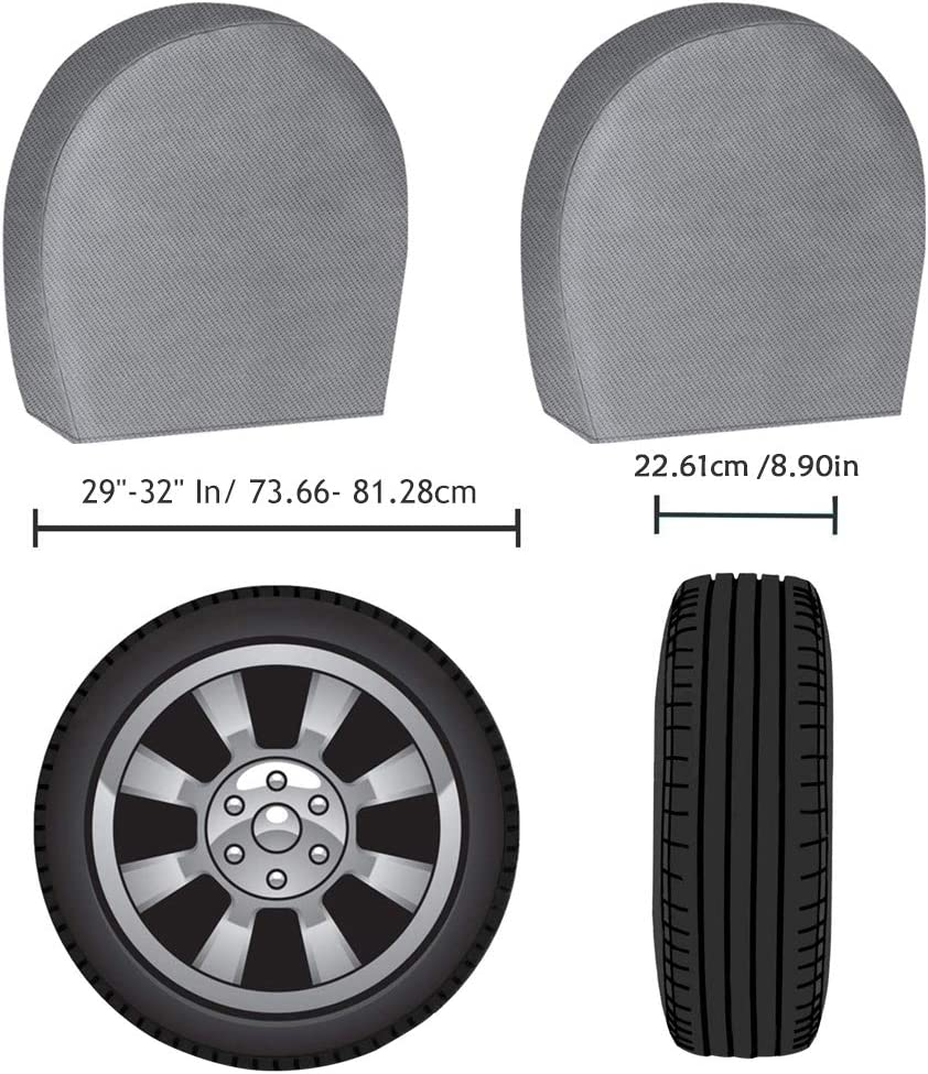 Tire Covers for RV Wheel Motorhome Wheel Covers Waterproof UV Coating Tire Protectors for Trailer Truck Camper Auto Fits 27-29 Tire Diameters ACUMSTE Set of 4 Tire Covers