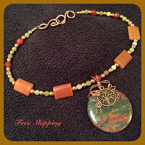 Olive Green and Sienna Red Picasso Jasper Pendant Necklace Copper Wire Wrapped With Tree of Life - Onyx Mountain Green