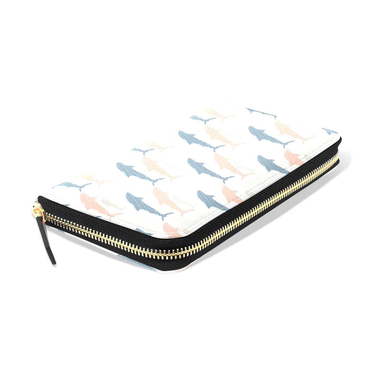 Women Whale Shark Mini Art Leather Wallet Large Capacity Zipper Travel Wristlet Bags Clutch Cellphone Bag