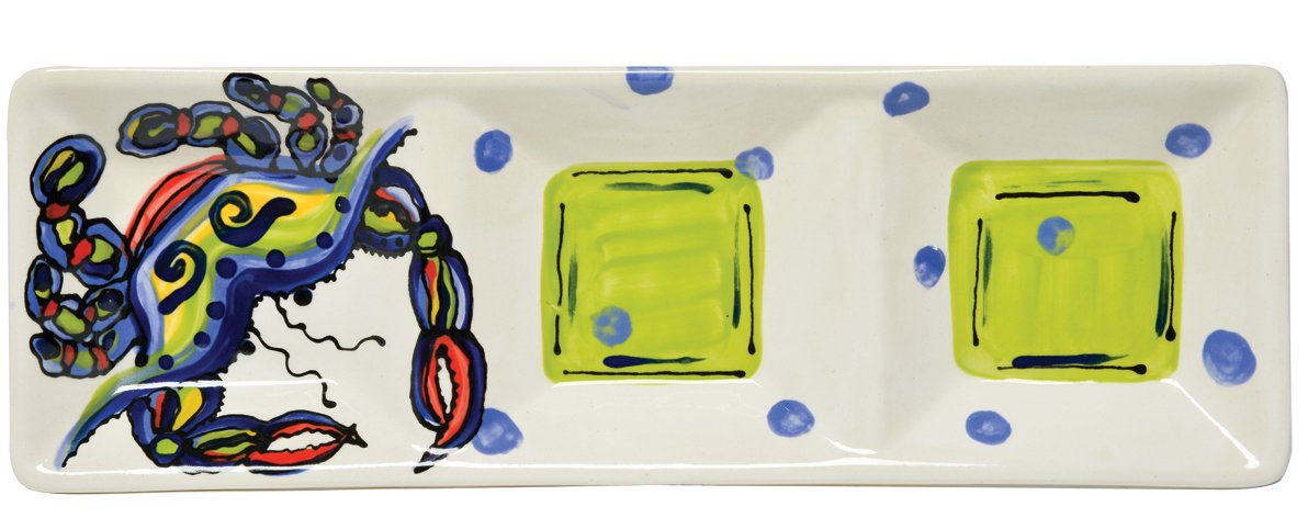 Christmas Tablescape Décor - Ceramic whimsical and vibrant crab inspired multicolor divided appetizer tray by Dana Wittmann