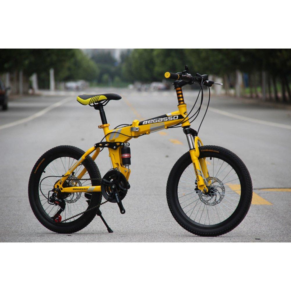 学生折りたたみ自転車, 子供用折りたたみ自転車 男女 21 速度 型ディスク ブレーキ 大人 折りたたみ自転車 Mtb 折り畳み自転車 B07DGGCSBG黄 20inch