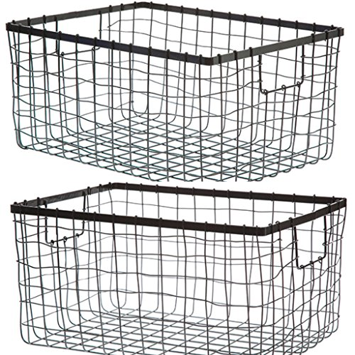 Wire Storage Basket, Bin for Shelves in Kitchen, Pantry, Linen Closet, Laundry Room, by HomeSimple (2, Black)