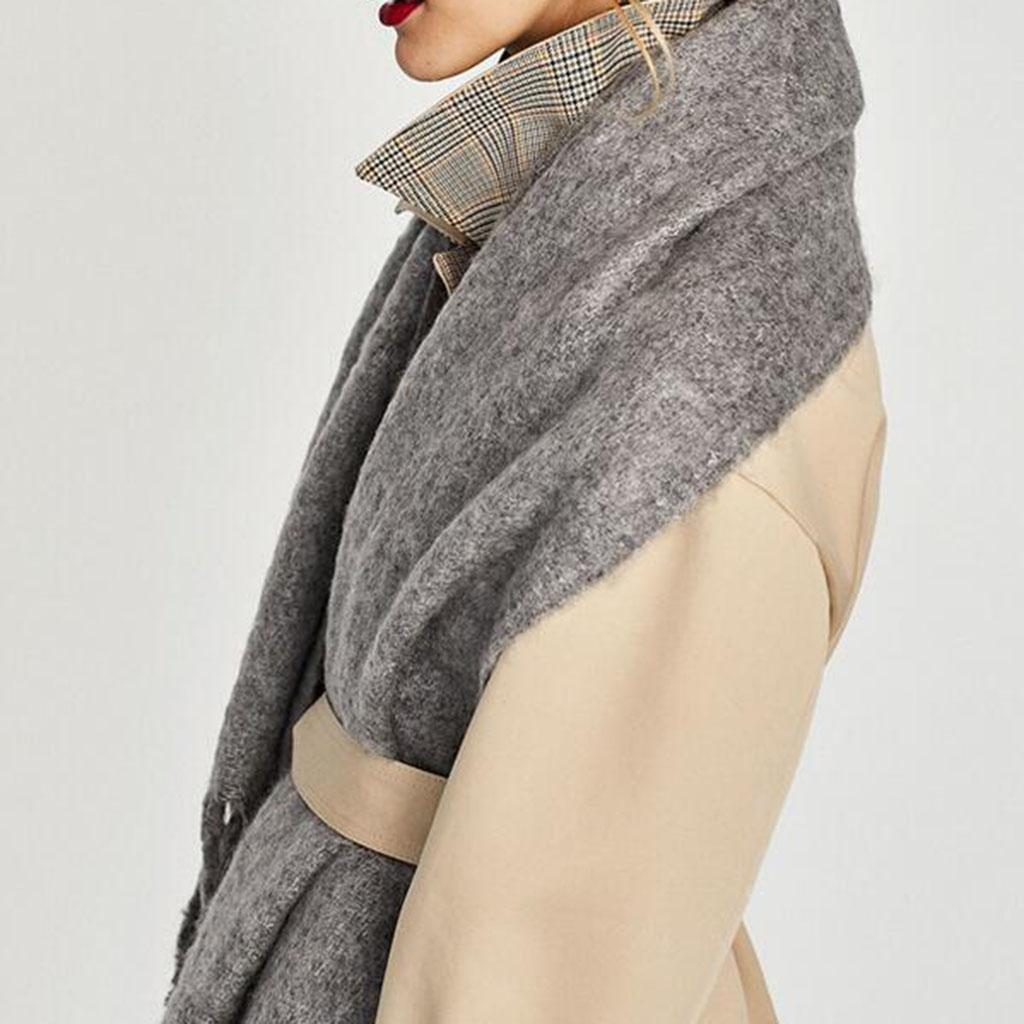 Sra Color sólido bufanda Más grueso Mantente caliente suave Frío chal