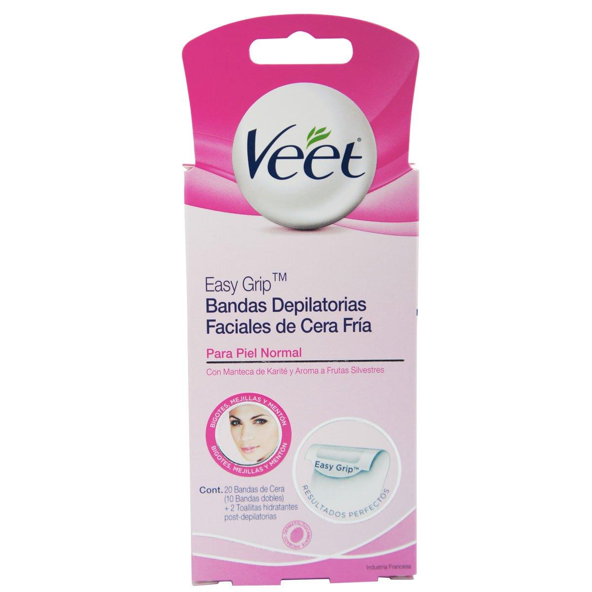 Veet - Cera depiladora fría facial - piel normal - 16 bandas: Amazon.es: Salud y cuidado personal