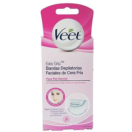 Veet - Cera depiladora fría facial - piel normal - 16 bandas