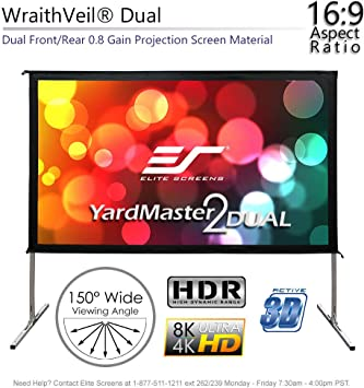 Amazon Com Elite Screens Yardmaster 2 Dual Projector Screen 100 Inch 16 9 Front And Rear Wraith Veil Dual 4k 8k Ultra Hd Active 3d Hdr Ready Indoor And Outdoor Projection Screen Oms100h2 Dual Electronics