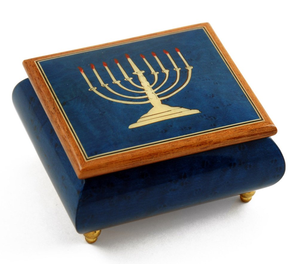 Handcrafted Italian Dark Blue Menorah Music Box - Let Me Call You Sweetheart