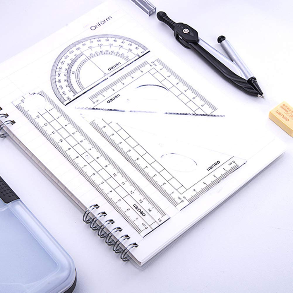 Geometry Math - Herramientas de dibujo con brújula antideslizante, regla lineal, borrador de lápiz: Amazon.es: Hogar