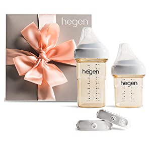 Hegen Newborn Baby Bottle Basic Starter Kit- PPSU Bottle for Babies, Medium & Slow Teat- Breast Milk Storage Lids and Secure Seals